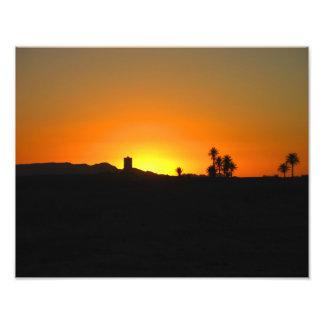 Impresión marroquí del satén de la puesta del sol fotografia