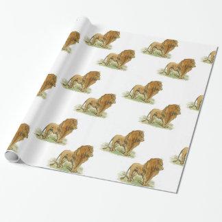 Impresión media del papel de regalo de los leones