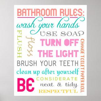 Impresión moderna de las reglas del cuarto de baño