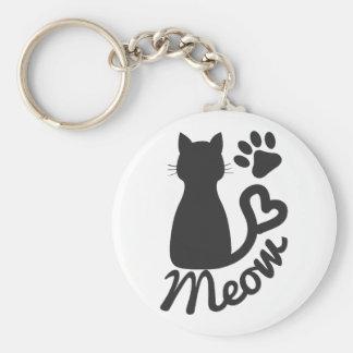Impresión negra del gato del gatito y de la pata llavero redondo tipo chapa