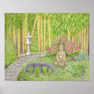 Impresión pacífica del arte del jardín de Buda