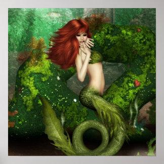 Impresión pelirroja de la sirena