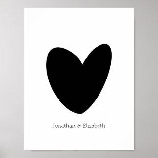 Impresión personalizada del corazón del amor