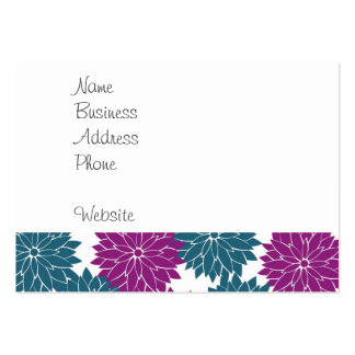 Impresión púrpura bonita de los flores de la flor tarjetas de visita grandes