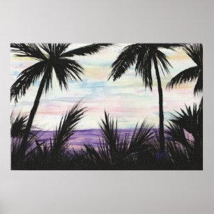 Impresión púrpura de la escena de la playa