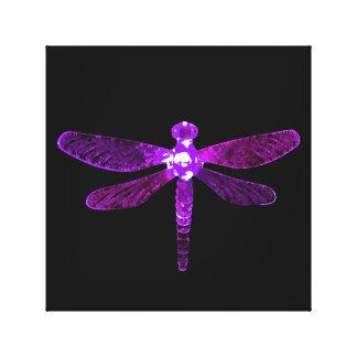 Impresión púrpura de la lona de la libélula