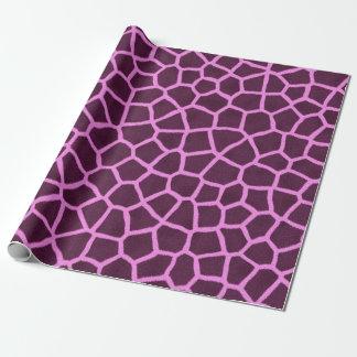 Impresión púrpura de la piel de la jirafa papel de regalo