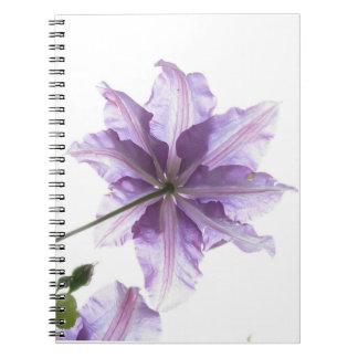 Impresión púrpura del arte de la flor libretas