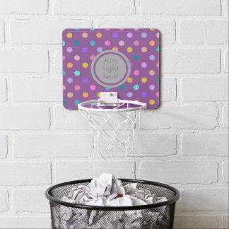 Impresión púrpura del lunar de la mini meta del mini tablero de baloncesto