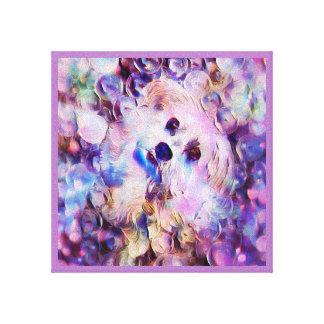 Impresión púrpura linda de la lona de las burbujas