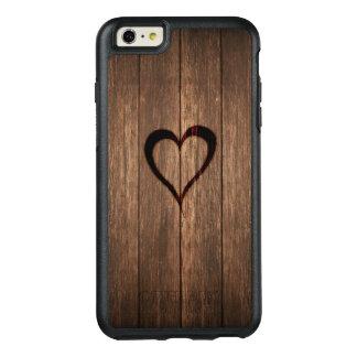 Impresión quemada madera rústica del corazón funda otterbox para iPhone 6/6s plus