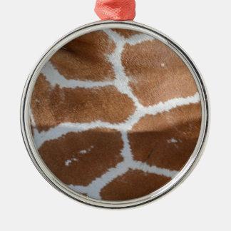impresión reticulada de la piel de la jirafa adorno navideño redondo de metal