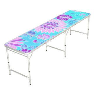 Impresión retra de la margarita azul mesa de pong
