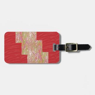 Impresión roja elegante SEDOSA de la tela de las o Etiqueta Para Maletas