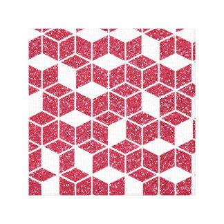 Impresión rosada de la lona del modelo del cubo