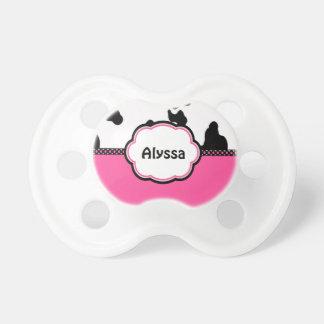 Impresión rosada de la vaca personalizada chupetes