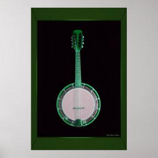 Impresión verde del banjo