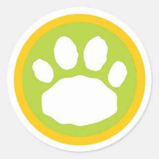 Impresión verde y amarilla de la pata pegatina redonda