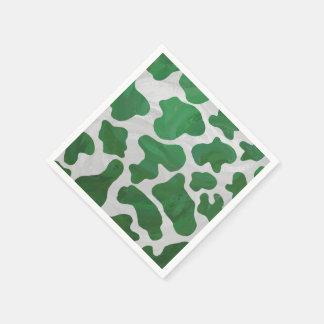 Impresión verde y blanca de la vaca servilletas de papel