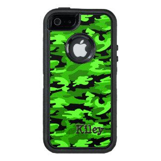 Impresión verde y negra de neón del camuflaje funda OtterBox defender para iPhone 5