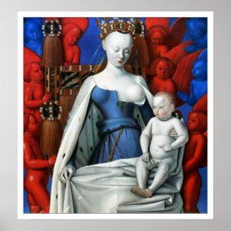 Impresión: Virgen y niño rodeados por ángeles Póster