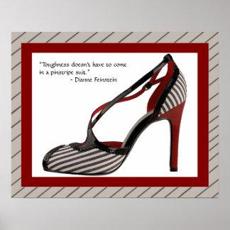 Impresión w/quote del zapato de la tela a rayas póster