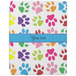 Impresiones animales coloridas de la pata cubierta de iPad