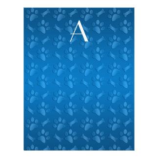 Impresiones azules de la pata del perro del monogr tarjeton
