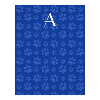 Impresiones azules de la pata del perro del monogr tarjeta publicitaria