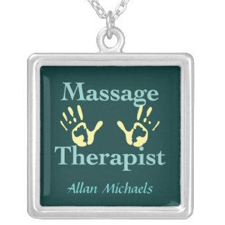 Impresiones de la mano del terapeuta del masaje colgantes personalizados