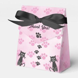 Impresiones de la pata del negro del rosa del gato caja de regalos