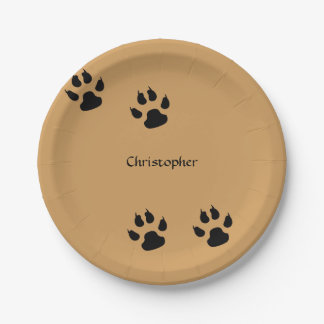Impresiones de la pata del perro (fondo del plato de papel