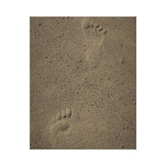 Impresiones del pie en la arena en Virginia Beach