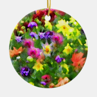 Impresiones florales adorno redondo de cerámica