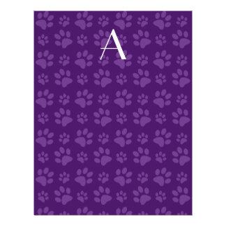 Impresiones púrpuras de la pata del perro del folleto 21,6 x 28 cm