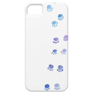 Impresiones púrpuras y azules de la pata del funda para iPhone SE/5/5s
