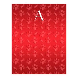Impresiones rojas brillantes de la pata del perro tarjetas publicitarias