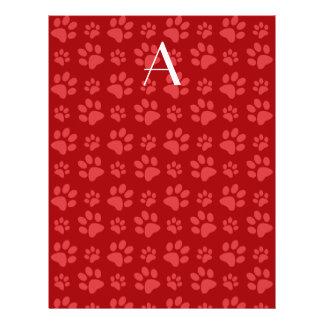 Impresiones rojas de la pata del perro del folleto 21,6 x 28 cm