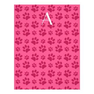 Impresiones rosadas de la pata del perro del monog tarjetones