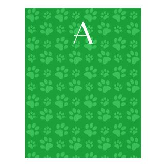Impresiones verdes de la pata del perro del monogr tarjetas publicitarias
