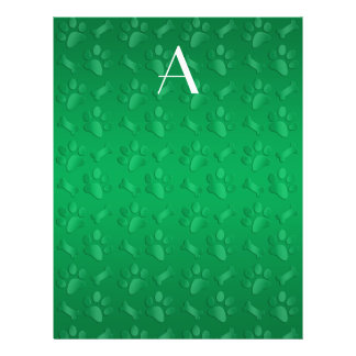 Impresiones verdes de la pata del perro del monogr tarjetones