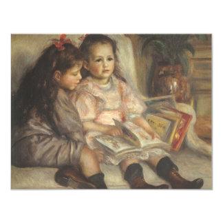 Impresionismo del vintage, retrato de los niños invitación 10,8 x 13,9 cm