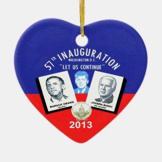 Inaugual 2013 adorno navideño de cerámica en forma de corazón