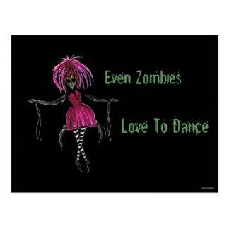 """""""Incluso amor de los zombis para bailar"""" la postal"""