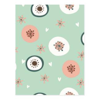 Inconformista, menta, coral, blanco, floral, postal