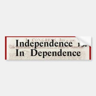 Independencia contra en la dependencia política pegatina para coche
