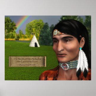 Indio del nativo americano con proverbio poster