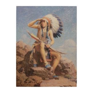Indio del nativo americano del vintage, el impresiones en madera