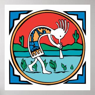 Indio Kokopelli del nativo americano Poster