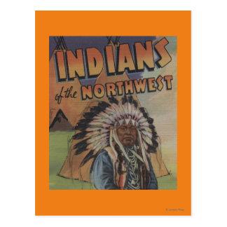 Indios del noroeste - jefe indio y tienda de los postales